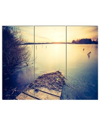 """Design Art 'Amazing Sunset over Clam Lake' 3 Piece Photographic Print on Wrapped Canvas Set, Canvas & Fabric in Brown/Purple, Size Medium 25""""-32"""""""