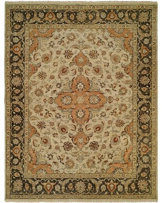 Athina Oriental Hand Knotted Wool Beige/Brown Area Rug World Menagerie Rug Size: Rectangle 6' x 9'