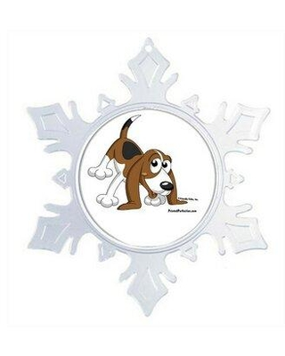 The Holiday Aisle Personalized Friendly Folks Cartoon Snowflake Beagle Christmas Holiday Shaped Ornament W001729055