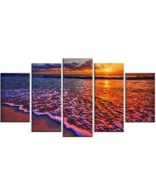 Design Art 'Colorful Sunset and Wavy Waters' 5 Piece Photographic Print on Wrapped Canvas Set PT14431-373
