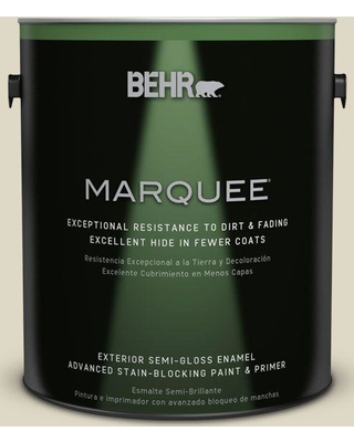 BEHR MARQUEE 1 gal. #YL-W13 Sentimental Beige Semi-Gloss Enamel Exterior Paint and Primer in One