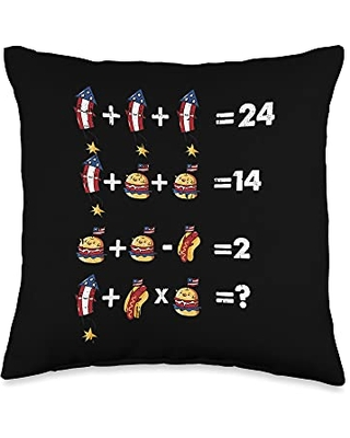 4th Of July Cloths Patriotic American Gifts Math Equation 4th Of July Funny American Flag Patriotic Throw Pillow, 16x16, Multicolor