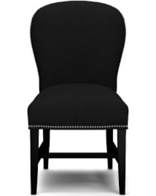 Maxwell Dining Side Chair without Handle, Belgian Linen, Black, Polished Nickel