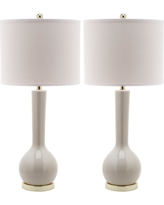 Safavieh Mae 30.5 in. Light Grey Long Neck Ceramic Table Lamp with Off-White Shade (Set of 2)