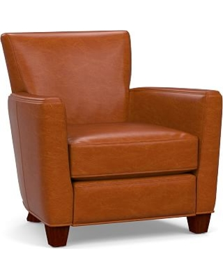 Irving Square Arm Leather Power Recliner, Polyester Wrapped Cushions, Legacy Dark Caramel