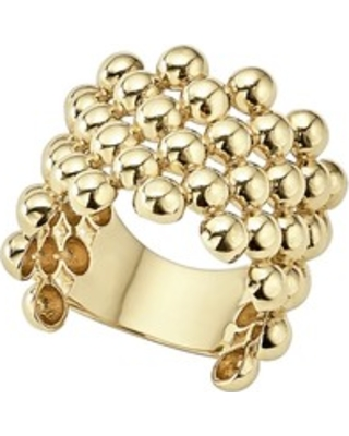 Women's Lagos Caviar Gold Wide Band Ring