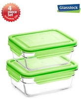 Glasslock Container Food Storage Set with Lid GL0032Green