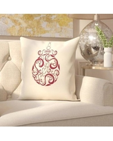 """House of Hampton Havelock Decorative Holiday Print Throw Pillow HOHM1352 Size: 18"""" H x 18"""" W, Color: Ivory/Burgundy"""