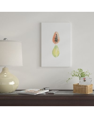 """'Papaya Slice' By Melissa Selmin Graphic Art Print on Wrapped Canvas East Urban Home Size: 26"""" H x 18"""" W x 0.75"""" D"""