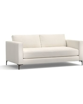 """Jake Upholstered Loveseat 70"""" with Bronze Legs, Polyester Wrapped Cushions, Denim Warm White"""