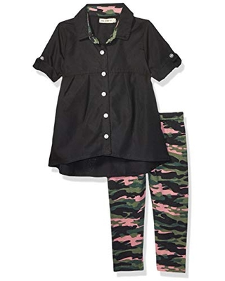 One Step Up Baby Girl's Woven Tunic and Legging Set Pants, Black Pink Camouflage, 18M