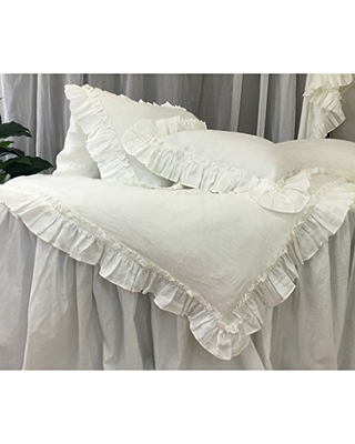 White Linen Vintage Ruffle Duvet Cover Available In Twin Full Queen King