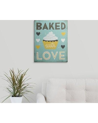 "Great Big Canvas 'Retro Diner Baked With Love' by Michael Mullan Graphic Art Print 2398464_1 Size: 10"" H x 8"" W x 1.5"" D Format: Canvas"