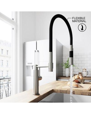 VIGO Norwood Magnetic Spray Pull Down Single Handle Kitchen Faucet VG02026 Finish: Stainless Steel