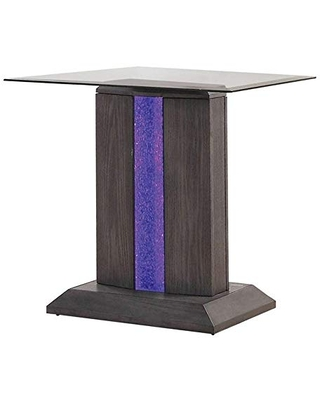 Benjara Glass Top End Table with Wooden Pedestal Base, Gray