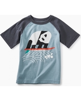Tea Collection Surfing Panda Raglan Graphic Tee