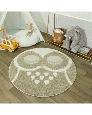 """Taylor & Olive Owl Shag Round Accent Rug (3'11"""" Round - Tan)"""