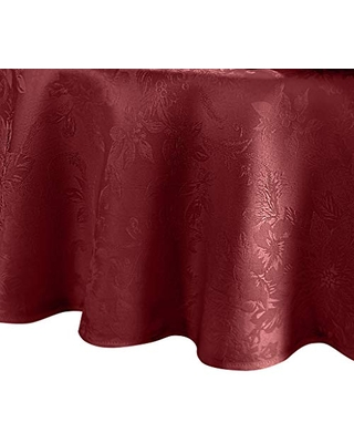 """Elrene Home Fashions Poinsettia Elegance Jacquard Holiday Tablecloth, 70"""" Round, Red"""