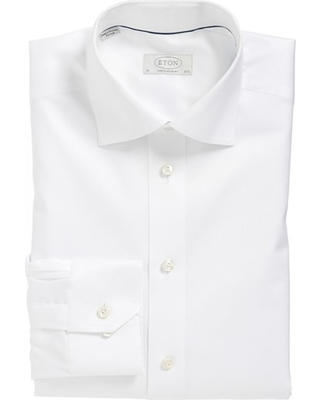 Men's Eton Contemporary Fit Twill Dress Shirt, Size 16 - White