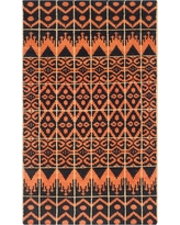 Orange/Black Solid Knotted Accent Rug - (3'x5') - Safavieh