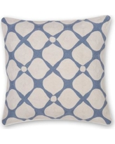 India's Heritage Posy Hand Embroidery Throw Pillow INHR1368 Color: Gray Blue