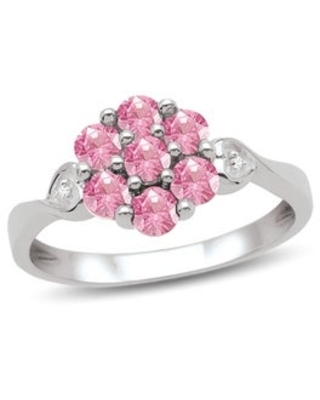 10K White Gold Genuine Birthstone Ring with Diamond Accent (October - Pink - H - Tourmaline - 7 - Pink)