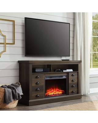 Better Homes and Gardens Granary Modern Farmhouse Fireplace Console, Television Stand for TVs up to 70â , Aged Brown Ash Finish
