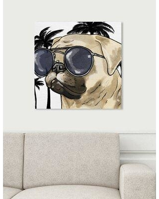 """Art Remedy Dogs and Puppies 'Ready for the Town Light Chrome' Graphic Art Print on Wrapped Canvas 26740_XHD Size: 20"""" H x 20"""" W x 1.5"""" D"""