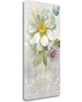 """Tangletown Fine Art 'Textile Floral IV' by Danhui Nai Painting Print on Wrapped Canvas WA616463-1529c Size: 29"""" H x 15"""" W"""