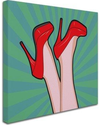 "Trademark Art 'Woman Legs with a Red Sexy Shoes' Graphic Art Print on Wrapped Canvas ALI7827-C Size: 18"" H x 18"" W x 2"" D"
