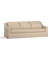 "York Slope Arm Slipcovered Deep Seat Grand Sofa 95"" with Bench Cushion, Down Blend Wrapped Cushions, Twill Parchment"