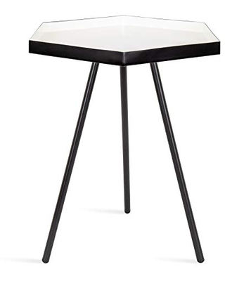"""Kate and Laurel Kashvi Modern Hexagon Side Table, 14"""" x 14"""" x 20"""", White and Black, Contemporary Geometric Accent End Table"""