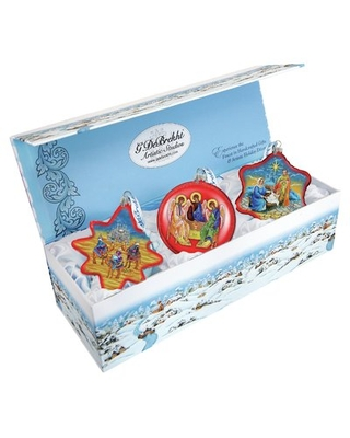 Nativity 3 Piece Shaped Ornament Set Holiday Splendor Collection The Holiday Aisle