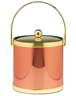 Mylar Polished Copper & Brass 3 Qt. Ice Bucket W/ Bale Handle, Bands & Metal Cover (polished copper & brass)
