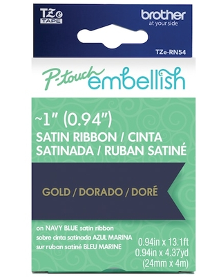 """1"""" Brother P-Touch Embellish Gold On Navy Blue Satin Ribbon 