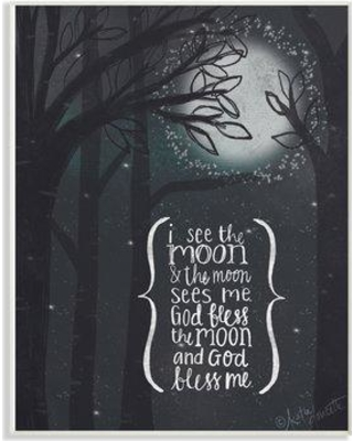 "Wrought Studio 'I See The Moon' Textual Art BF090775 Format: White Framed Size: 19"" H x 13"" W x 0.5"" D"