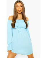 Womens Ruched Off The Shoulder Long Sleeve Mini Dress - Blue - 10