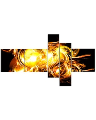 'Abstract Fractal Fire on Black' Graphic Art Print Multi-Piece Image on Canvas East Urban Home