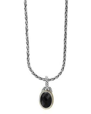 Effy Silver/Gold 5.7 ct. t.w. Onyx Pendant Necklace in 18k Yellow Gold and Sterling Silver