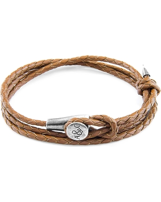 ANCHOR & CREW - Light Brown Dundee Silver & Braided Leather Bracelet