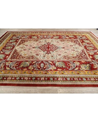 """One-of-a-Kind Brahmjot Hand-Knotted 1970s 8' x 11'4"""" Wool Area Rug in Red"""