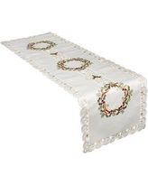 """Darby Home Co Gala Ribbon Wreath Embroidered Cutwork Christmas Table Runner DBHM4017 Size: 53"""" L x 15"""" W"""
