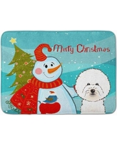 The Holiday Aisle Snowman with Bichon Frise Memory Foam Bath Rug THLA5106