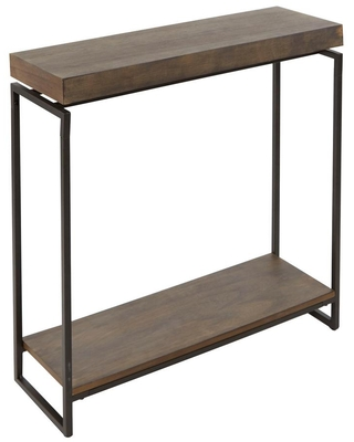 Silverwood Furniture Reimagined Bronson Gunmetal Gray and Wood Floating Top Slim Console Table
