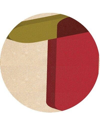 East Urban Home Abstract Wool Orange Area Rug X113645699 Rug Size: Round 3'