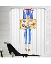 House of Hampton Alison B Travel Suitcase Stickers Shower Curtain HOHN3948