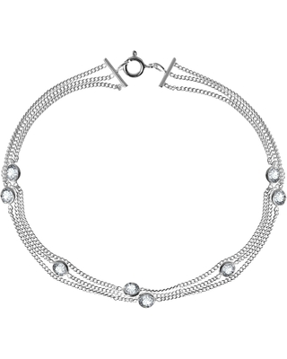 Handmade Triple Curb Chain Round Cubic Zirconia .925 Sterling Silver Bracelet (Thailand) (White - 7.5 Inch)