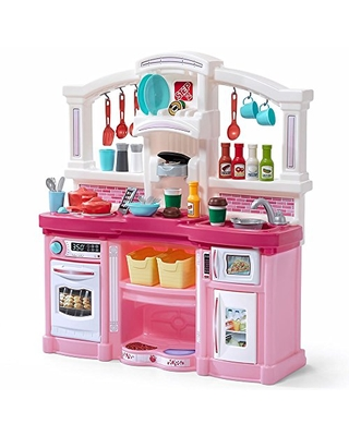Get This Deal On Step2 Fun With Friends Kitchen Large Plastic Play Kitchen With Realistic Lights Sounds Pink Kids Kitchen Playset 45 Pc Kitchen Accessories Set