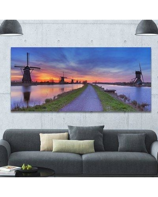"""Design Art 'Windmills Morning Panorama' Photographic Print on Wrapped Canvas PT15944- Size: 28"""" H x 60"""" W x 1.5"""" D"""