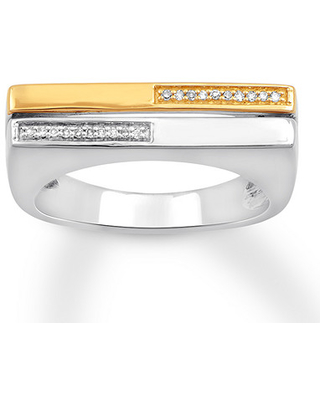 Diamond Flat Top Ring 1/20 cttw Sterling Silver/10K Yellow Gold